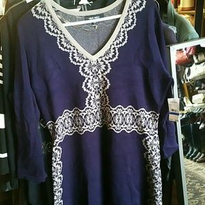 Nine West Royal Purple and Ash Sweater Dress XL